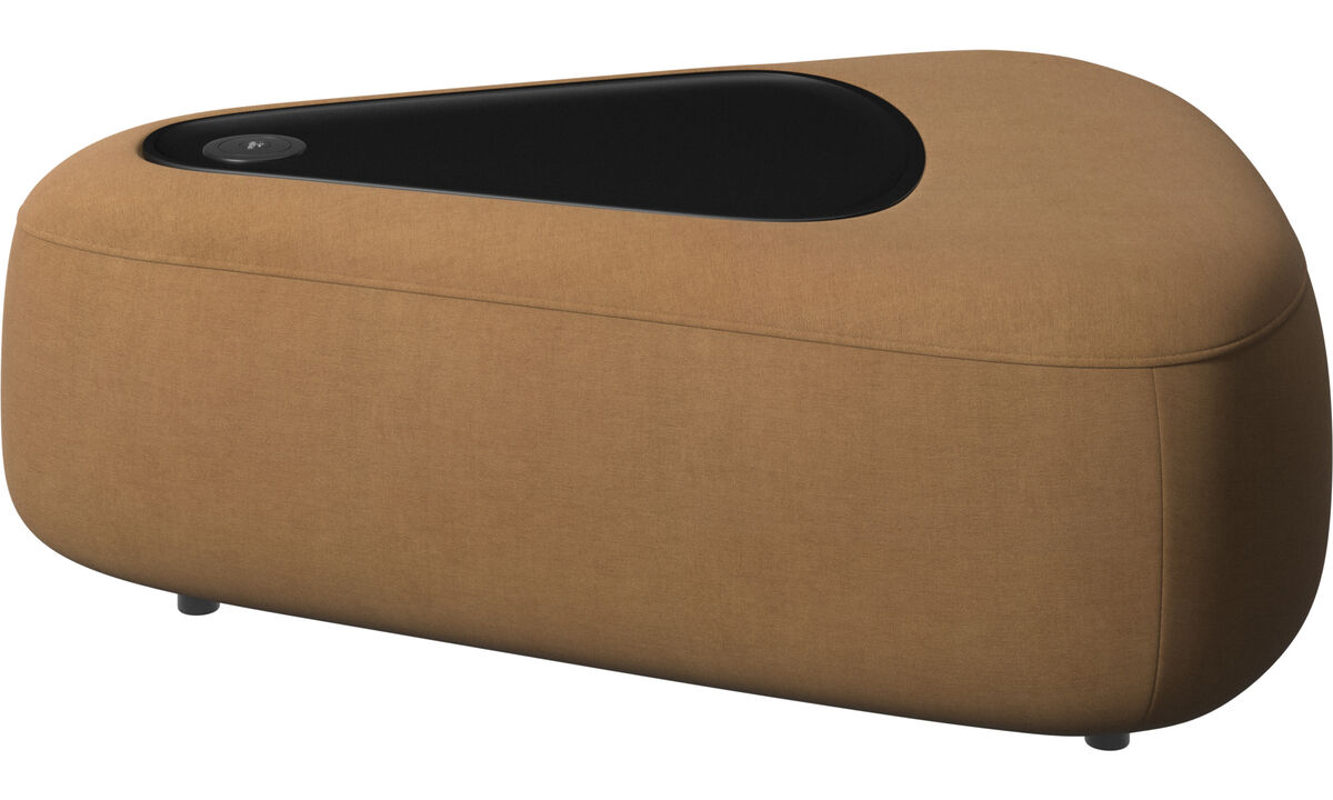 Footstools - Ottawa triangular pouf with tray matte black structure - Brown - Fabric