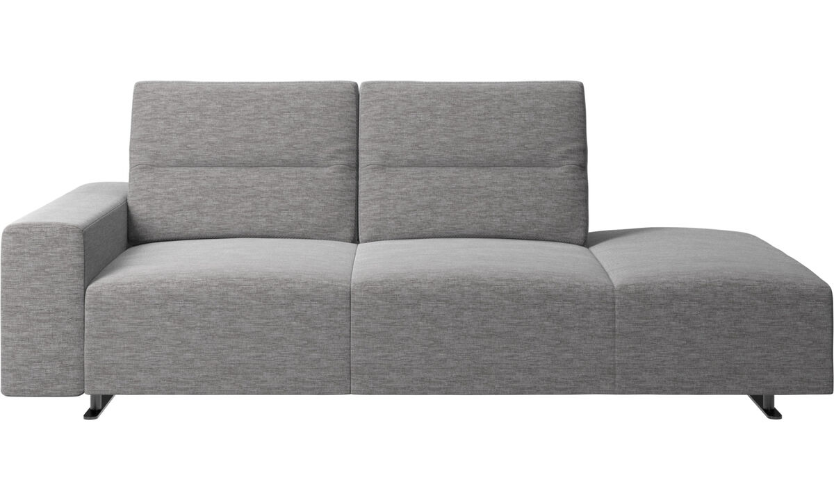 Sofas with open end - Hampton sofa with adjustable back and lounging unit right side, armrest left - Grey - Fabric