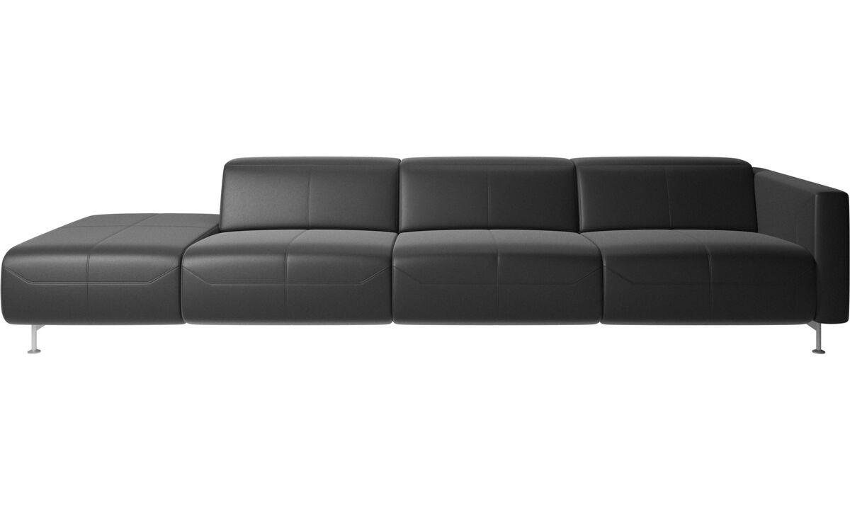 Banken met lounge element - Parma-relaxbank met open einde - Zwart - Leder