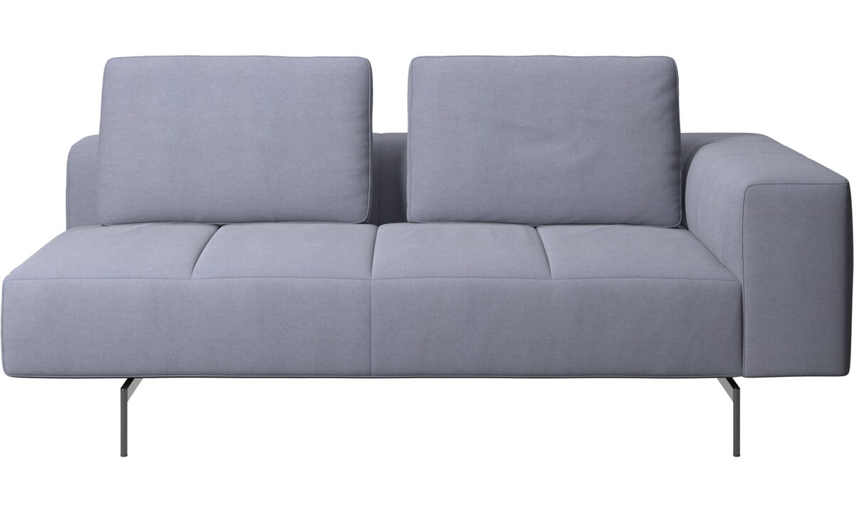 Modular sofas - Amsterdam 2,5 seating module, armrest right - Blue - Fabric