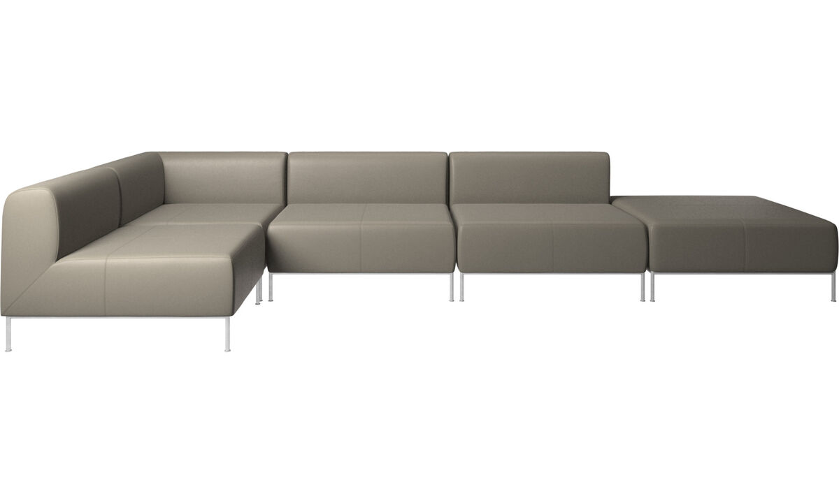 Corner sofas - Miami corner sofa with footstool on right side - Grey - Leather