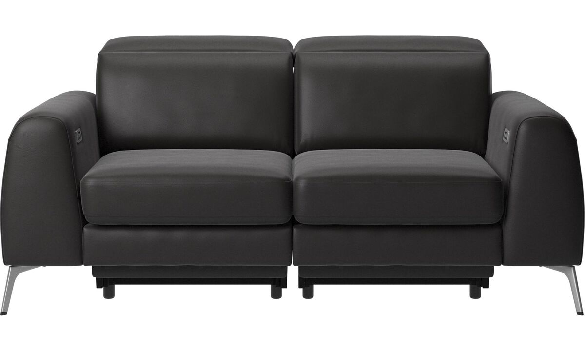 2 seater sofas - Madison sofa with electric seat, head and foot rest motion (transformer and cable plug-in included) - Black - Leather