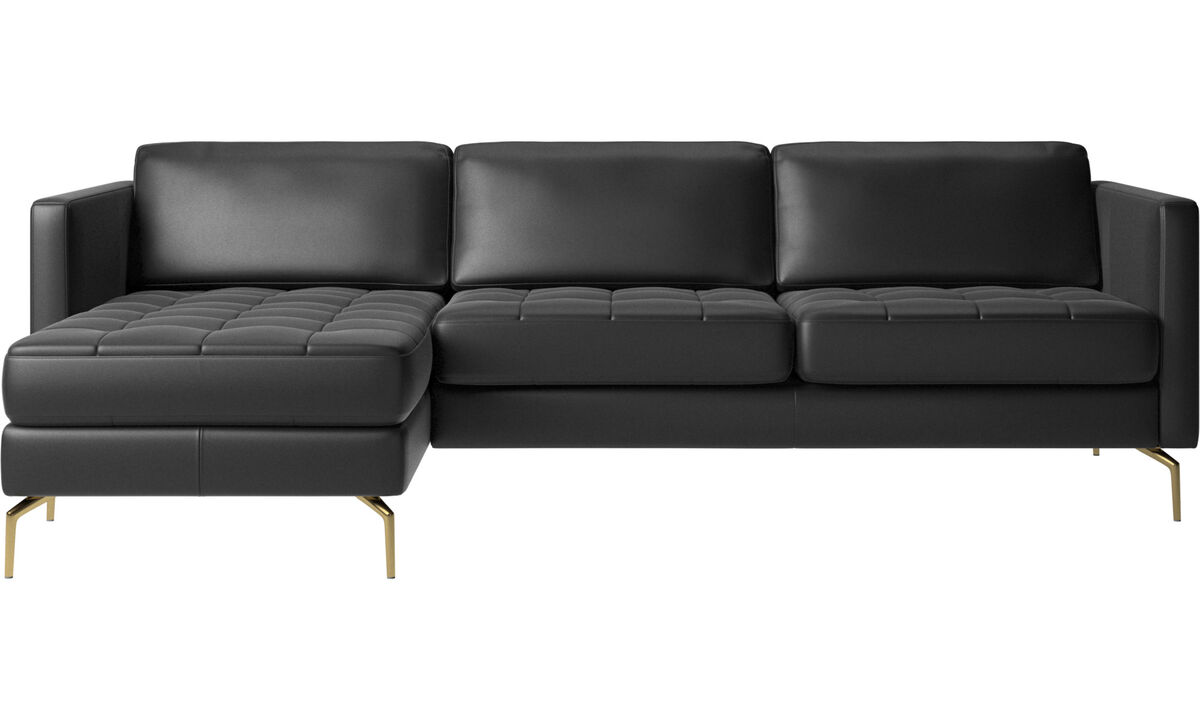 Chaise lounge sofas - Osaka sofa with resting unit, tufted seat - Black - Leather