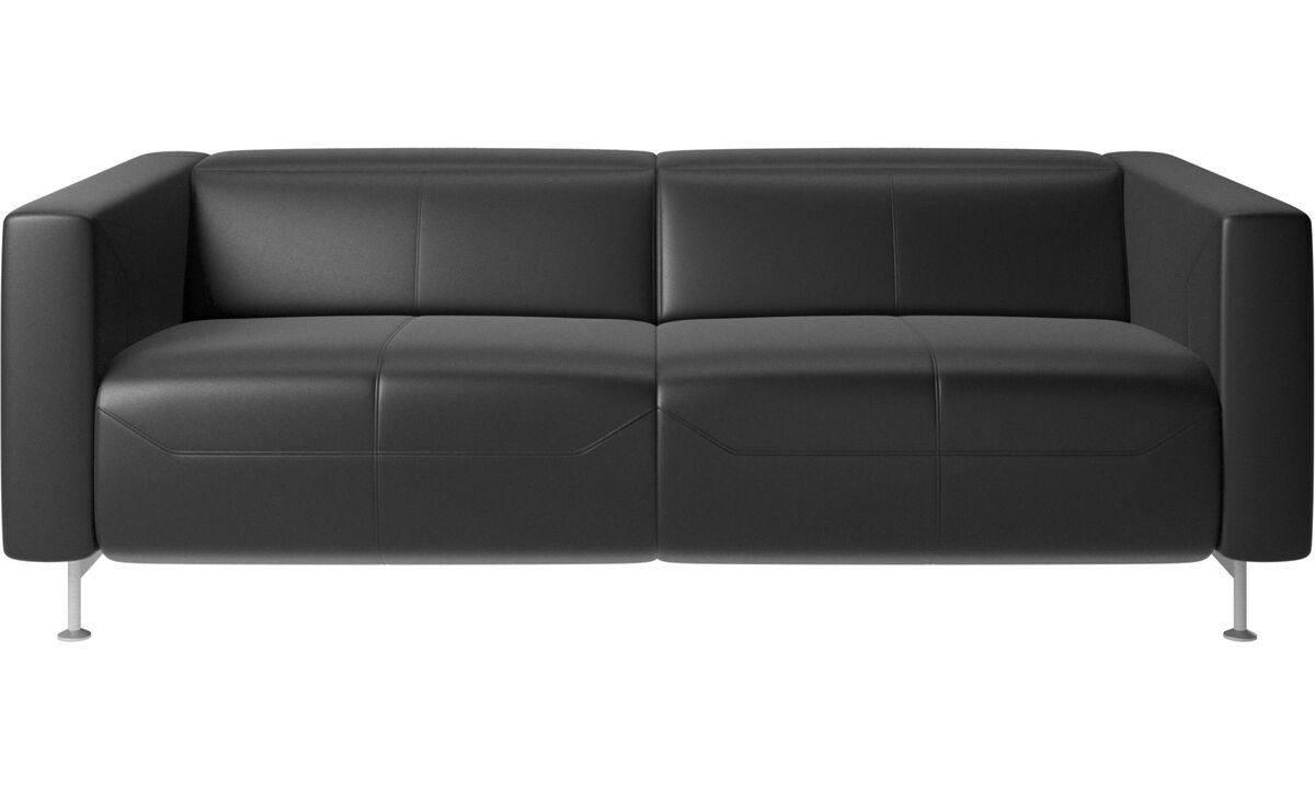 2.5 seater sofas - Parma reclining sofa - Black - Leather