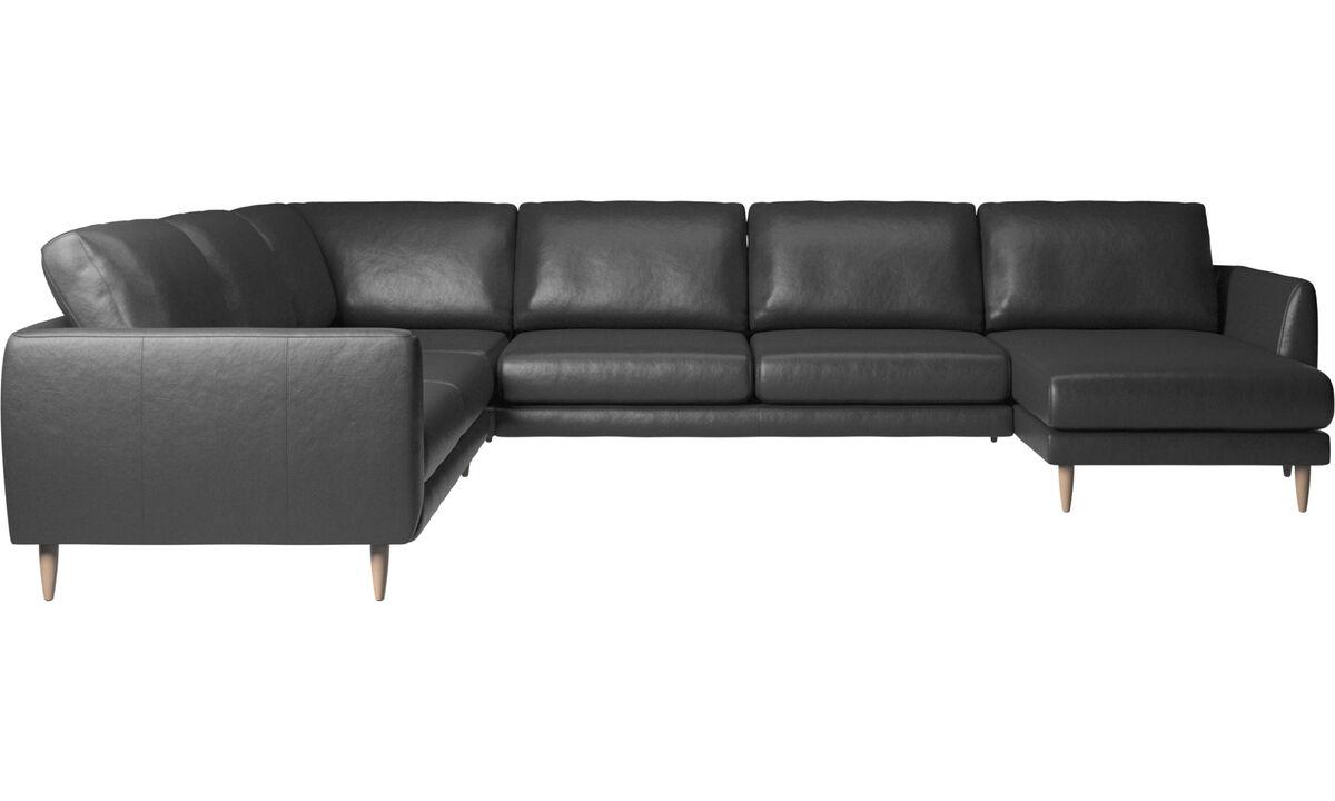 Canapés avec chaise longue - canapé d'angle Fargo avec méridienne - Noir - Cuir