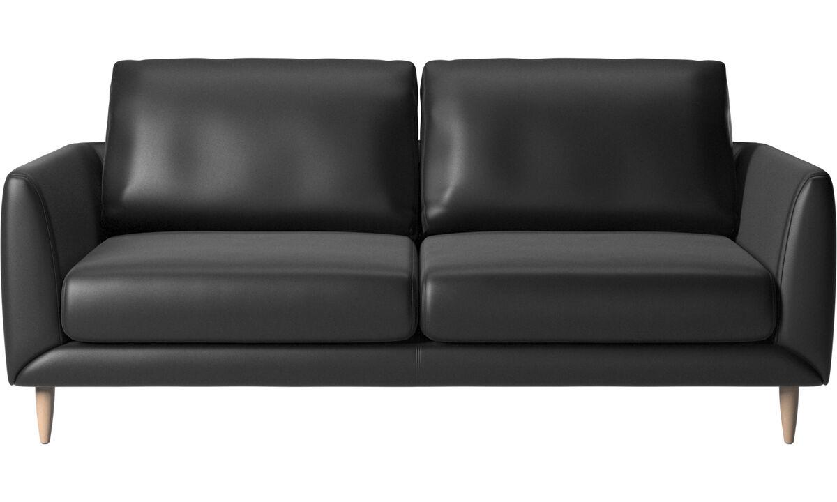 Sofás de 2 plazas y media - Sofá Fargo - En negro - Piel