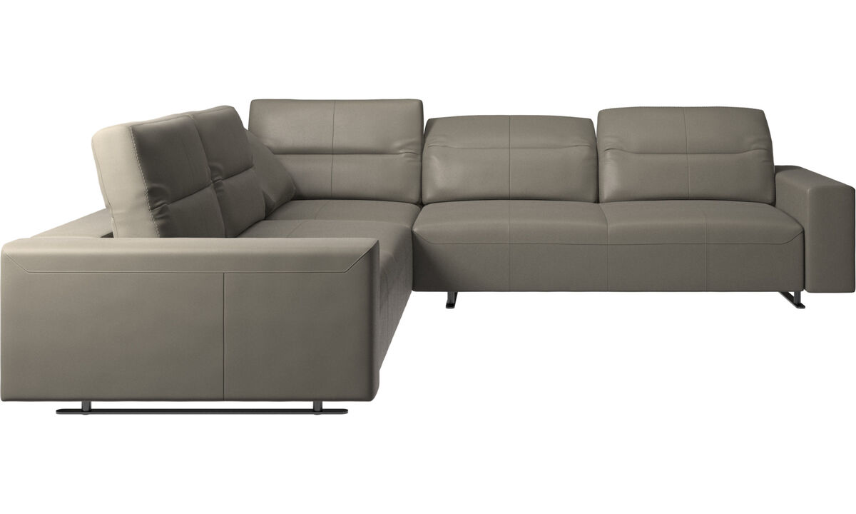 Corner sofas - Hampton corner sofa with adjustable back - Grey - Leather
