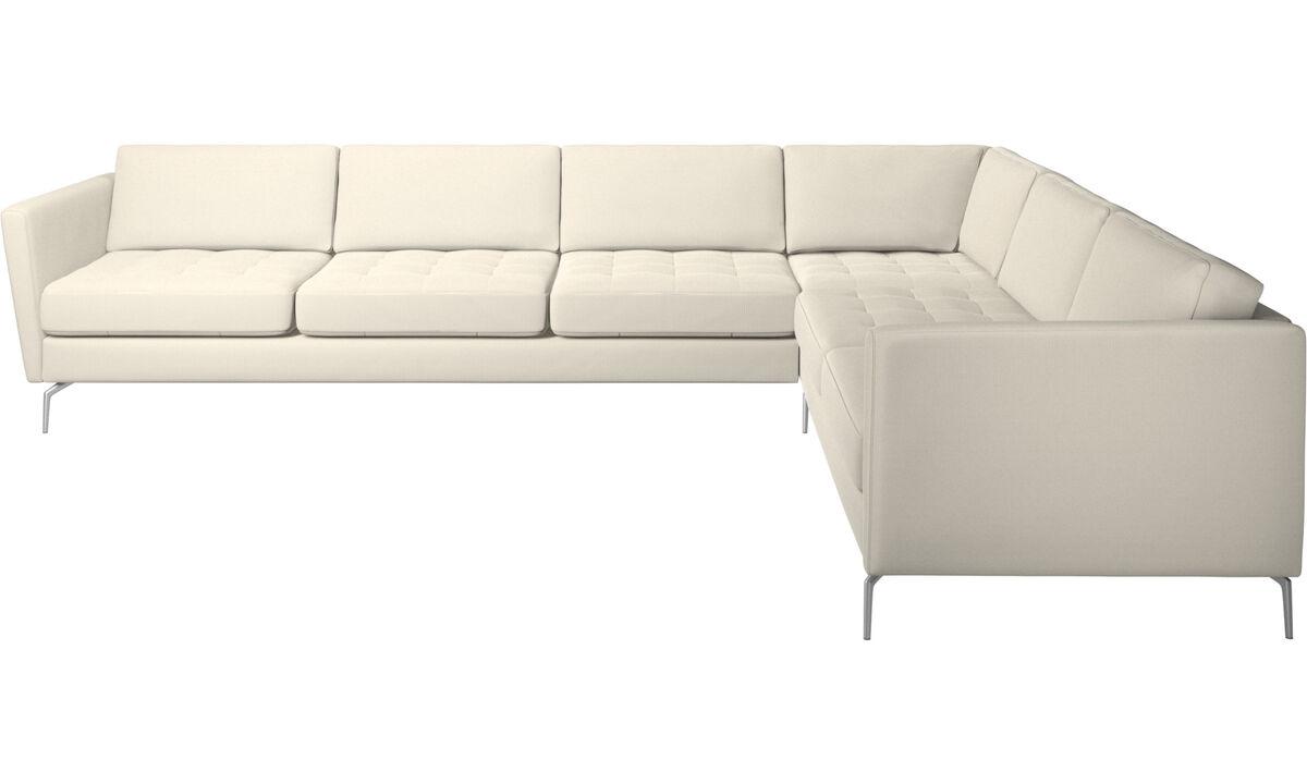 Corner sofas - Osaka corner sofa, tufted seat - White - Fabric