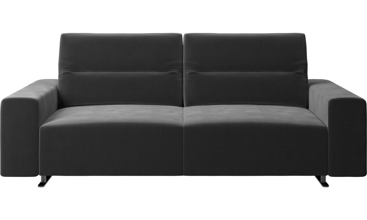 2.5 seater sofas - Hampton sofa with adjustable back and storage on the right side - Black - Fabric
