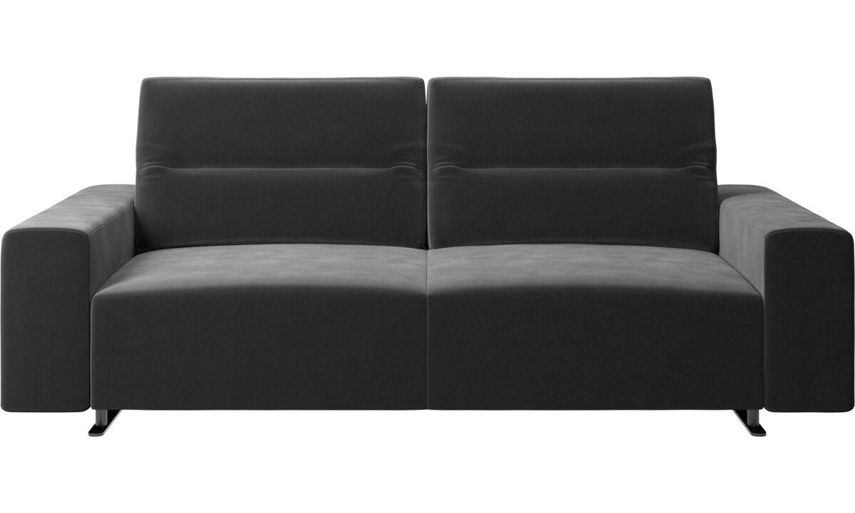 2,5 θέσιοι καναπέδες - Καναπές Hampton με ρυθμιζόμενη πλάτη και αποθηκευτικό χώρο στη δεξιά πλευρά - Μαύρο - Ύφασμα