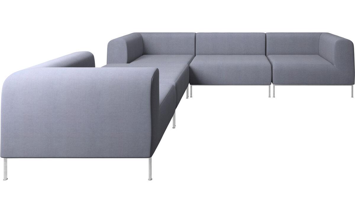 Modular sofas - Miami corner sofa with footstool on left side - Blue - Fabric