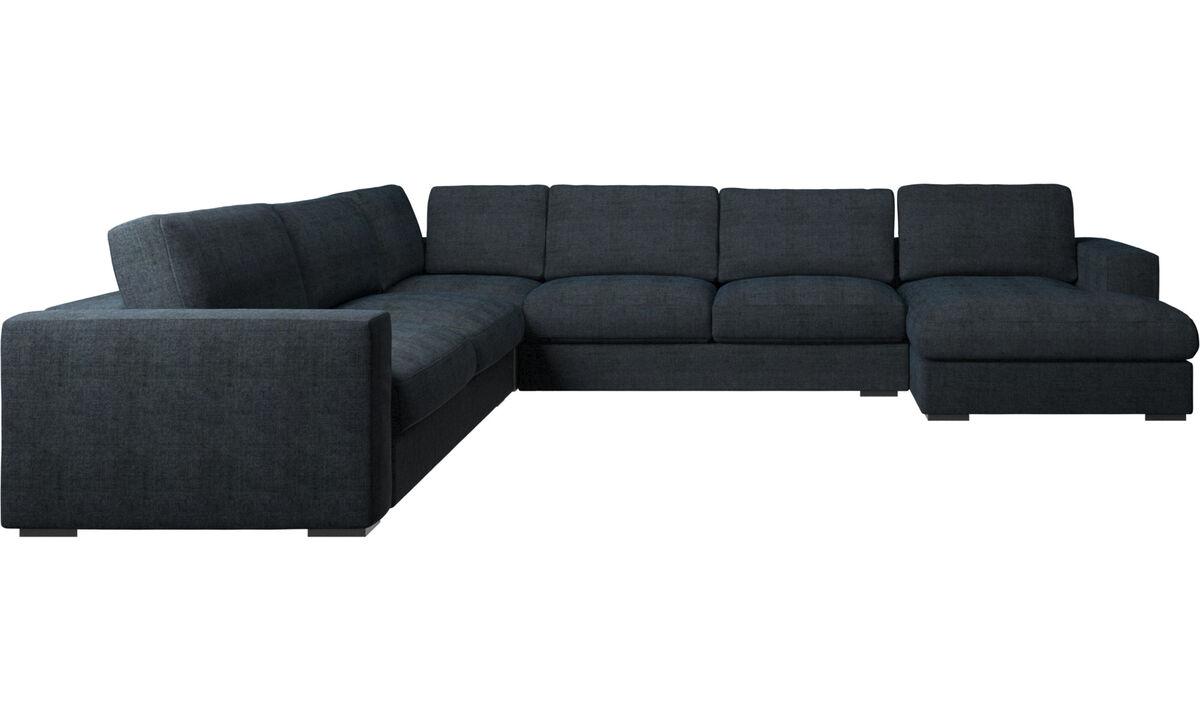 Chaise longue sofas - Cenova corner sofa with resting unit - Blue - Fabric