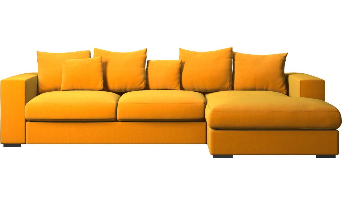 Sofás con chaise longue - sofá Cenova con módulo chaise-longue - Naranja - Tela