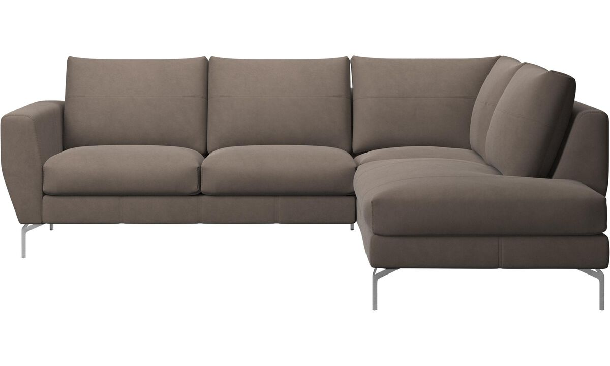 Corner sofas - Nice sofa with lounging unit - Gray - Leather