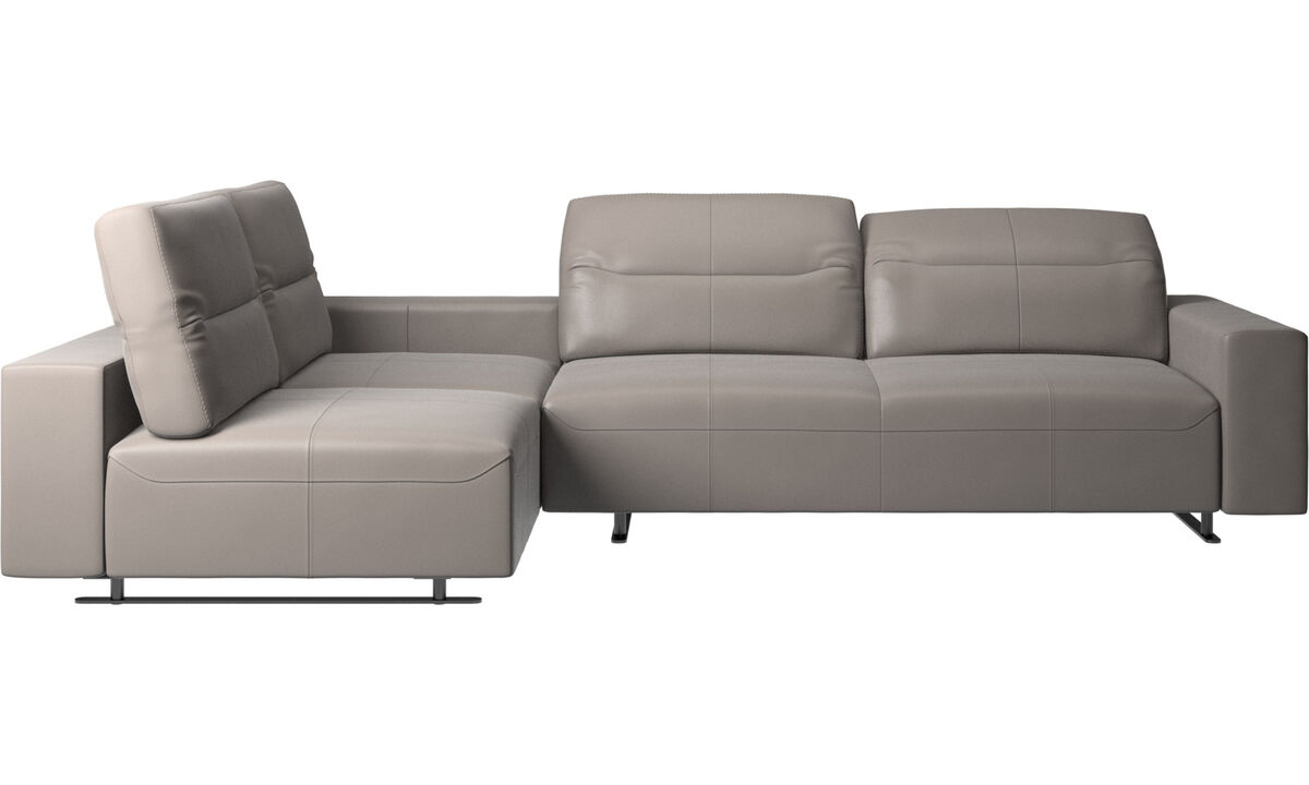New designs - Hampton corner sofa with adjustable back and storage on right side - Beige - Leather