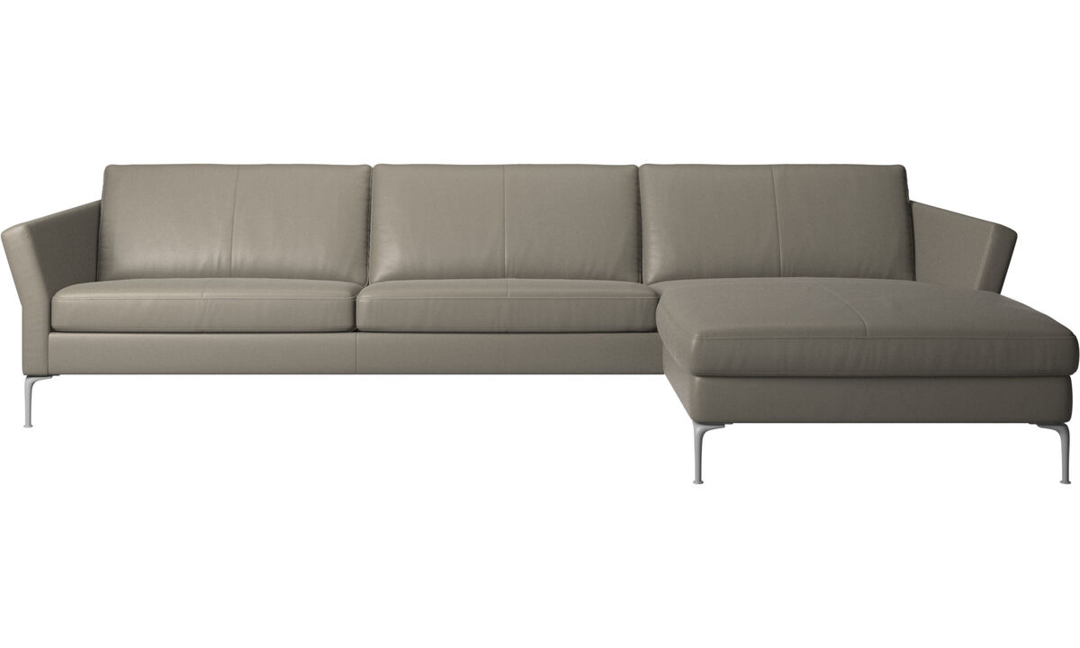 Chaise longue sofas - Marseille sofa with resting unit - Grey - Leather