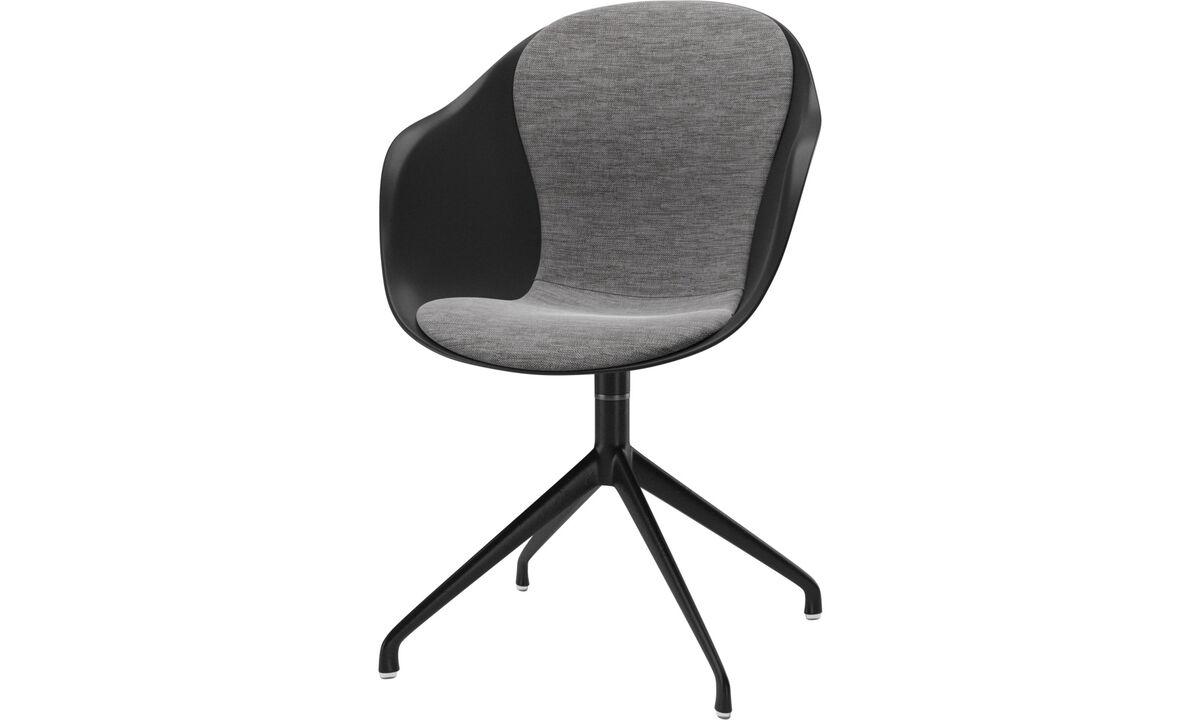 Cadeiras de jantar - cadeira Adelaide com função giratória - Cinzento - Tecido