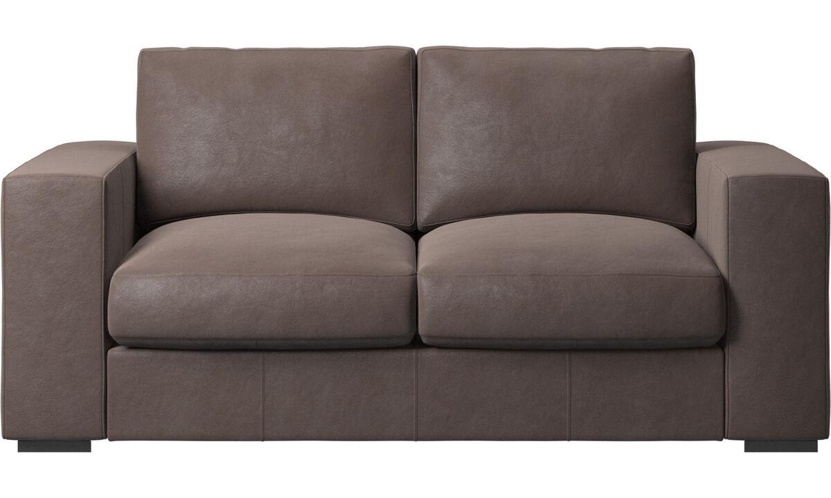 Sofás de 2 plazas - sofá Cenova - En marrón - Piel