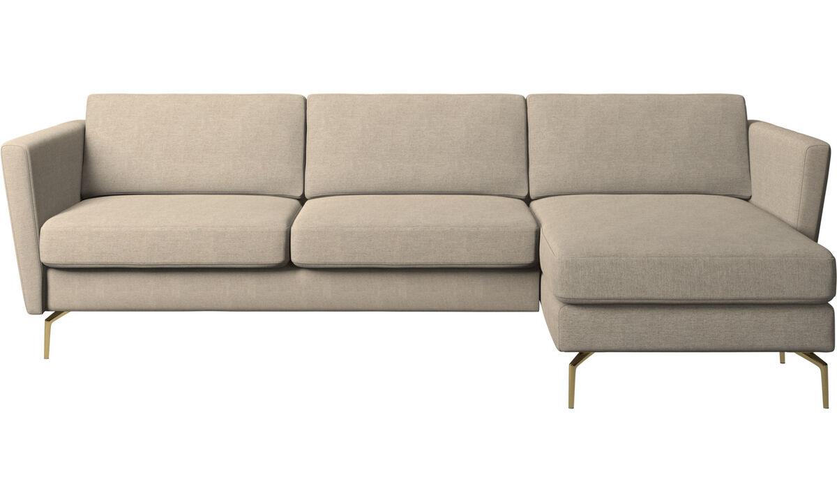 Chaise lounge sofas - Osaka sofa with resting unit, regular seat - Beige - Fabric