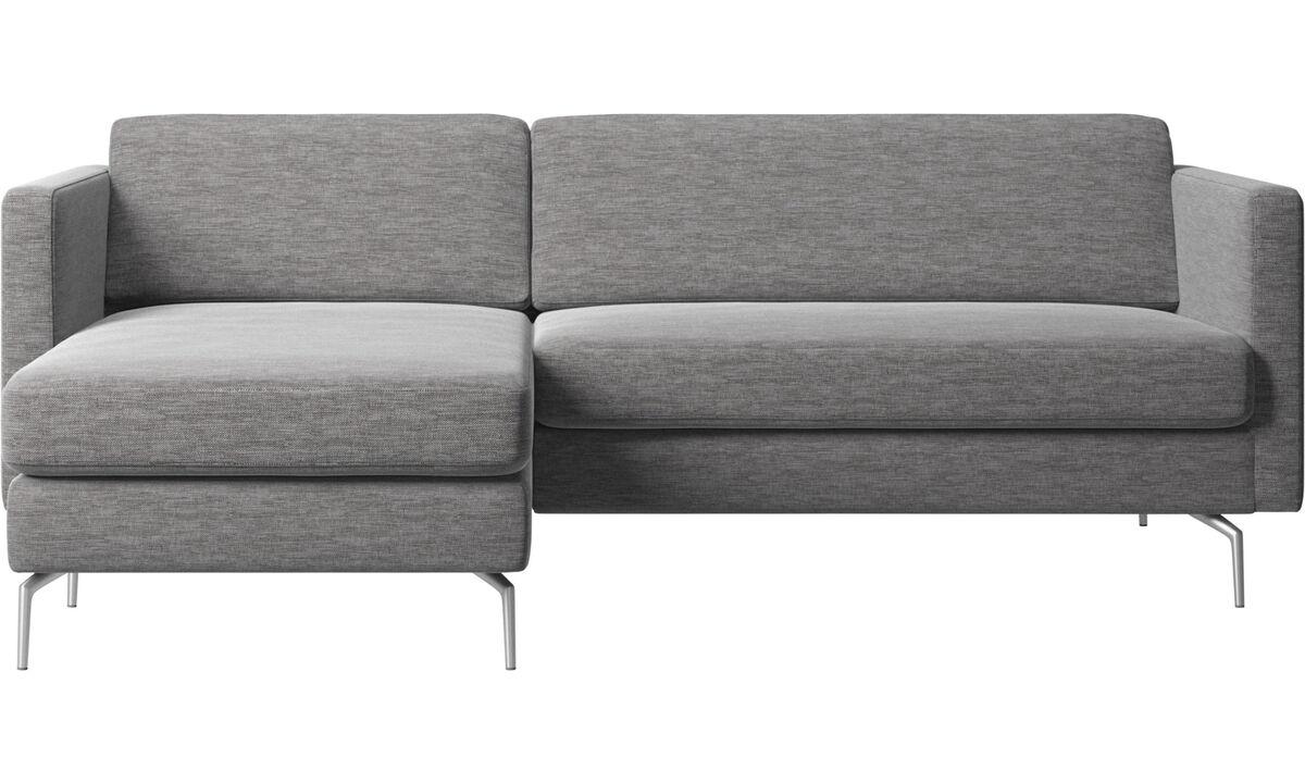 Диваны с козеткой - диван Osaka с модулем для отдыха, стандартное сиденье - Серого цвета - Tкань
