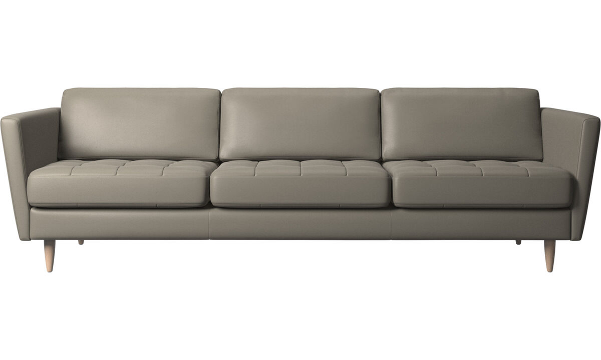 3 seater sofas - Osaka sofa, tufted seat - Grey - Leather