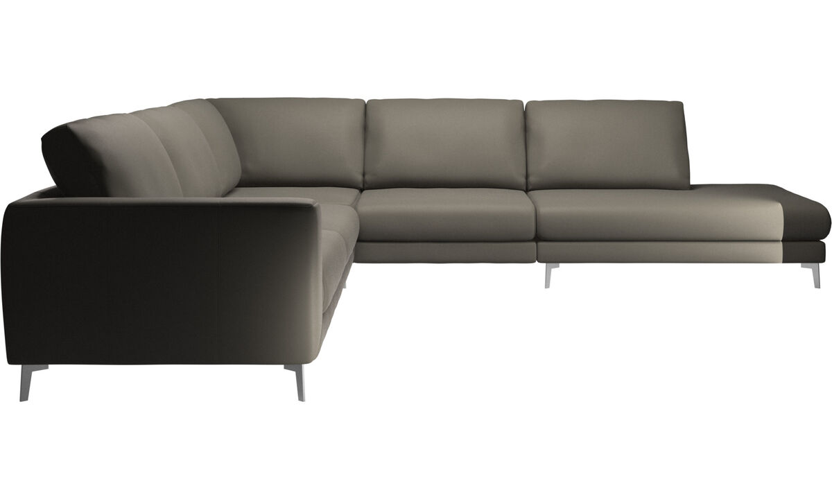 Sofas with open end - Fargo corner sofa with lounging unit - Grey - Leather