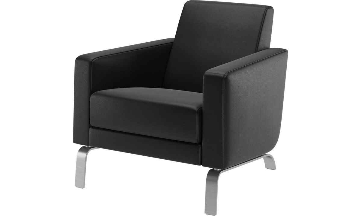 Armchairs and footstools - Fly chair - Black - Leather
