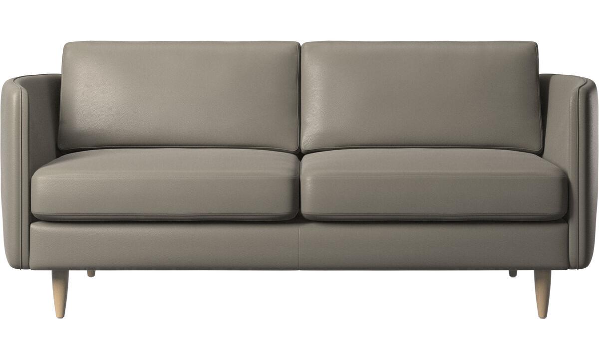 2-sitzer Sofas - Osaka Sofa, klassische Sitzfläche - Grau - Leder
