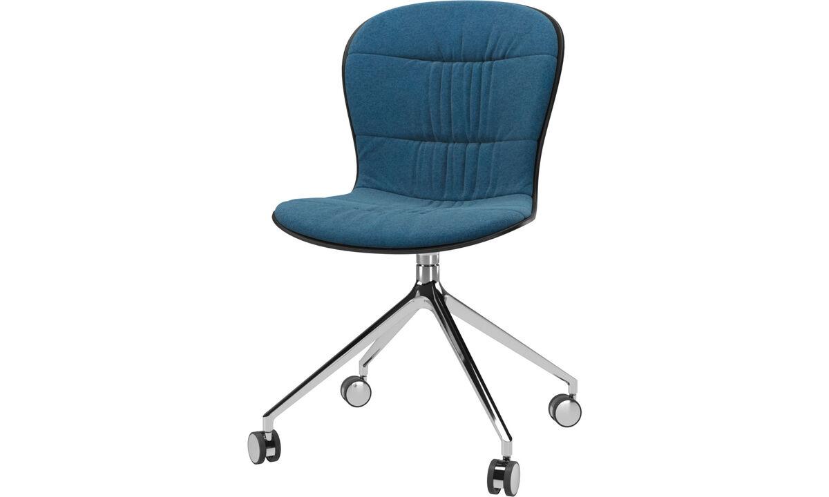 Sillas de comedor - Silla Adelaide con función giratoria y ruedas - En azul - Tela