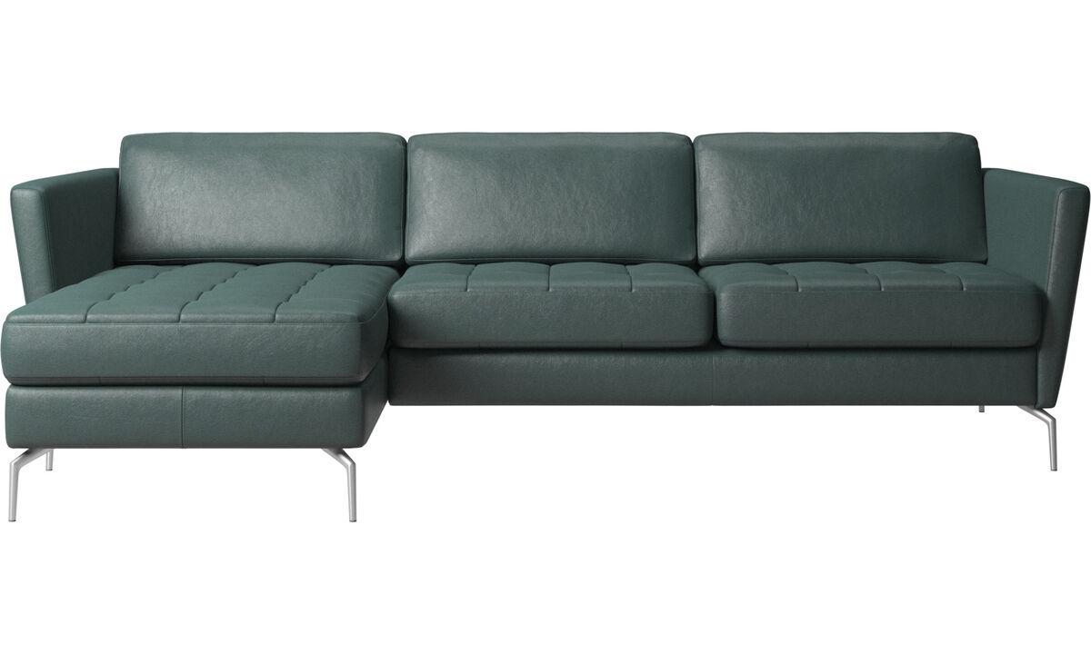Sofas mit Récamiere - Osaka Sofa mit Ruhemodul, getuftete Sitzfläche - Grün - Stoff