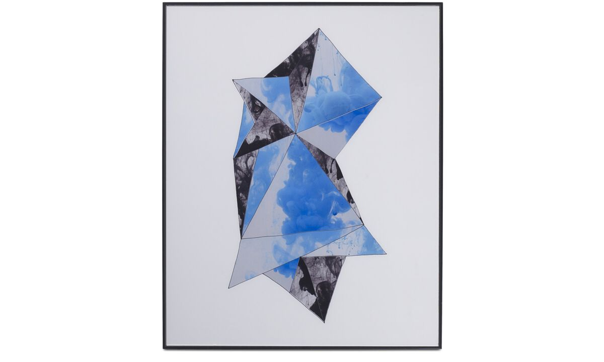 Gallery - Geometry glass art - Blue - Wood