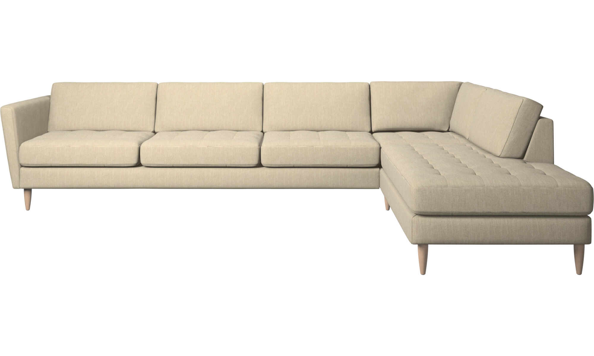 Sofas With Open End   Osaka Corner Sofa With Lounging Unit, Tufted Seat    Brown