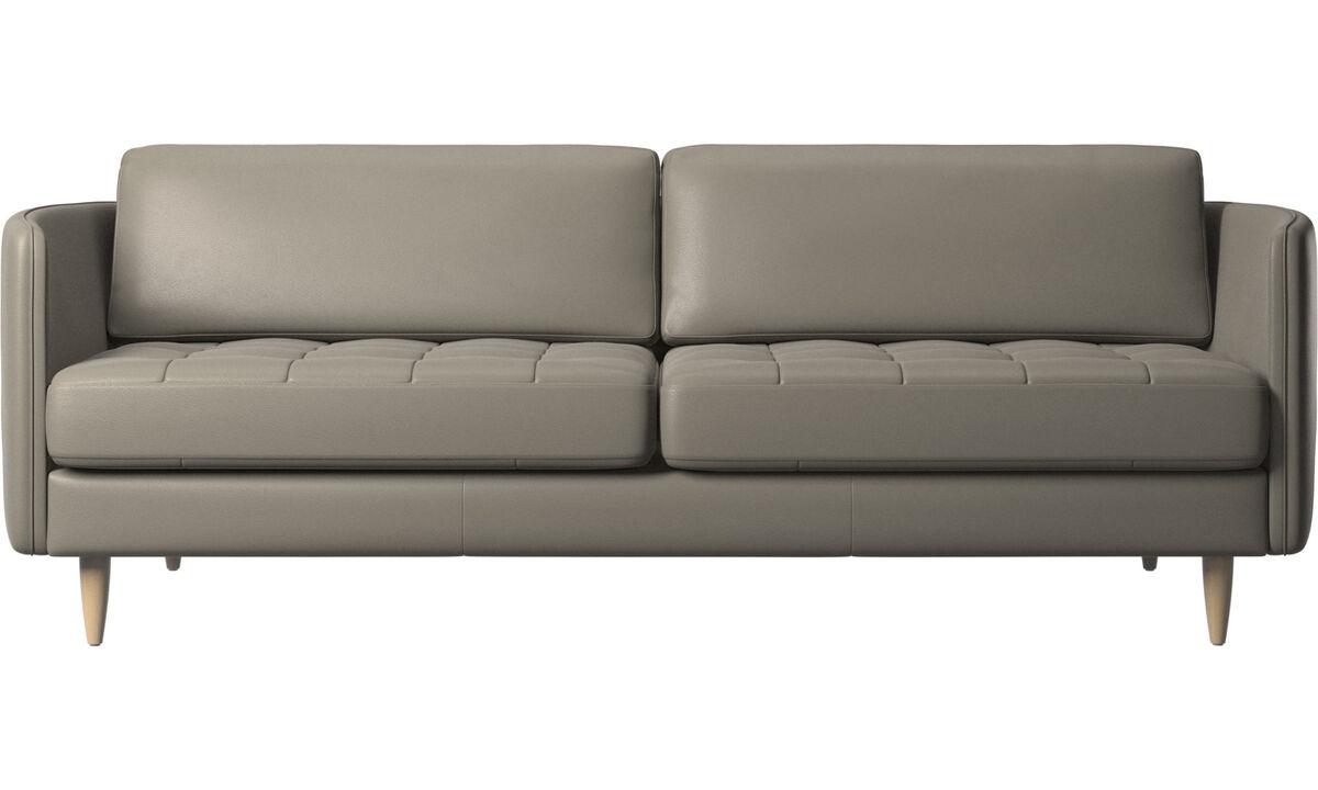 Canapés 2 places et demi - canapé Osaka, assise capitonnée - Gris - Cuir