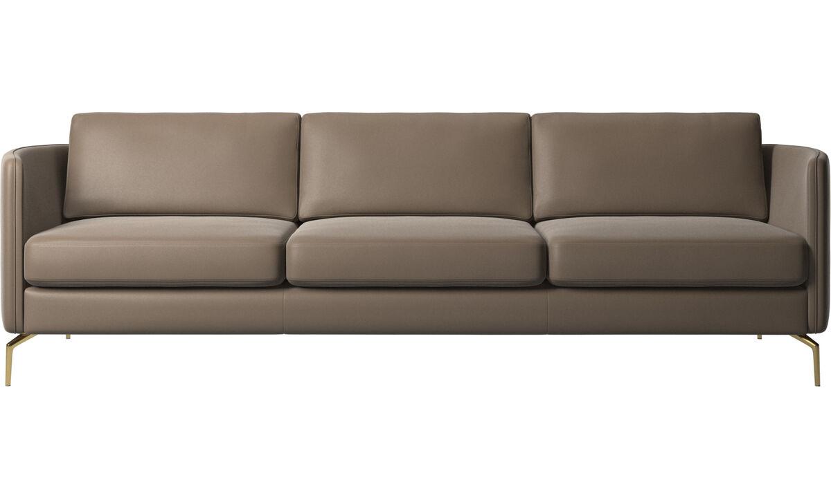 3 seater sofas - Osaka sofa, regular seat - Gray - Leather
