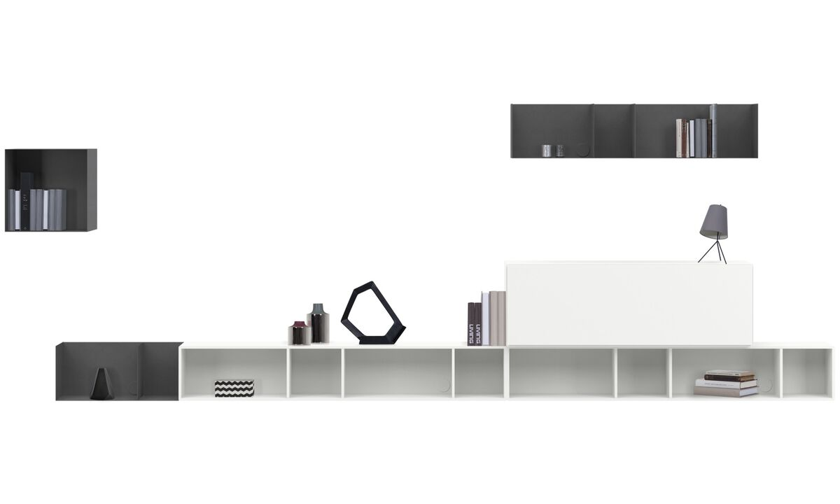 Wall Units - Lugano wall mounted wall system with drop down door - White - Lacquered