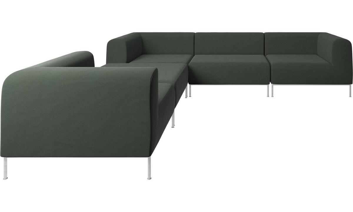Sofás modulares - Sofá de canto Miami com puff no lado esquerdo - Verde - Tecido