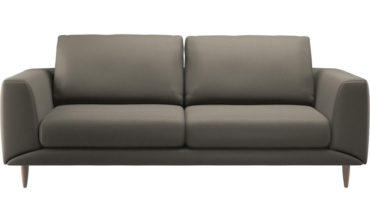 Sofás de 2 plazas y media - sofá Fargo - En gris - Piel
