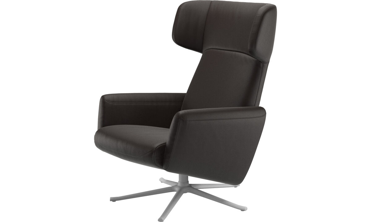 Recliners - Lucca wing recliner with swivel function - Brown - Leather