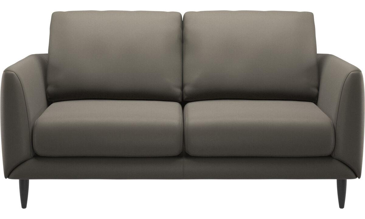 Sofás de 2 plazas - sofá Fargo - En gris - Piel