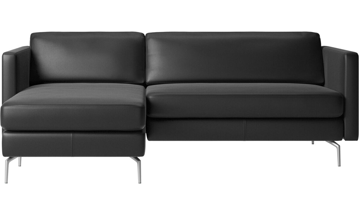 Chaise longue sofas - Osaka sofa with resting unit, regular seat - Black - Leather