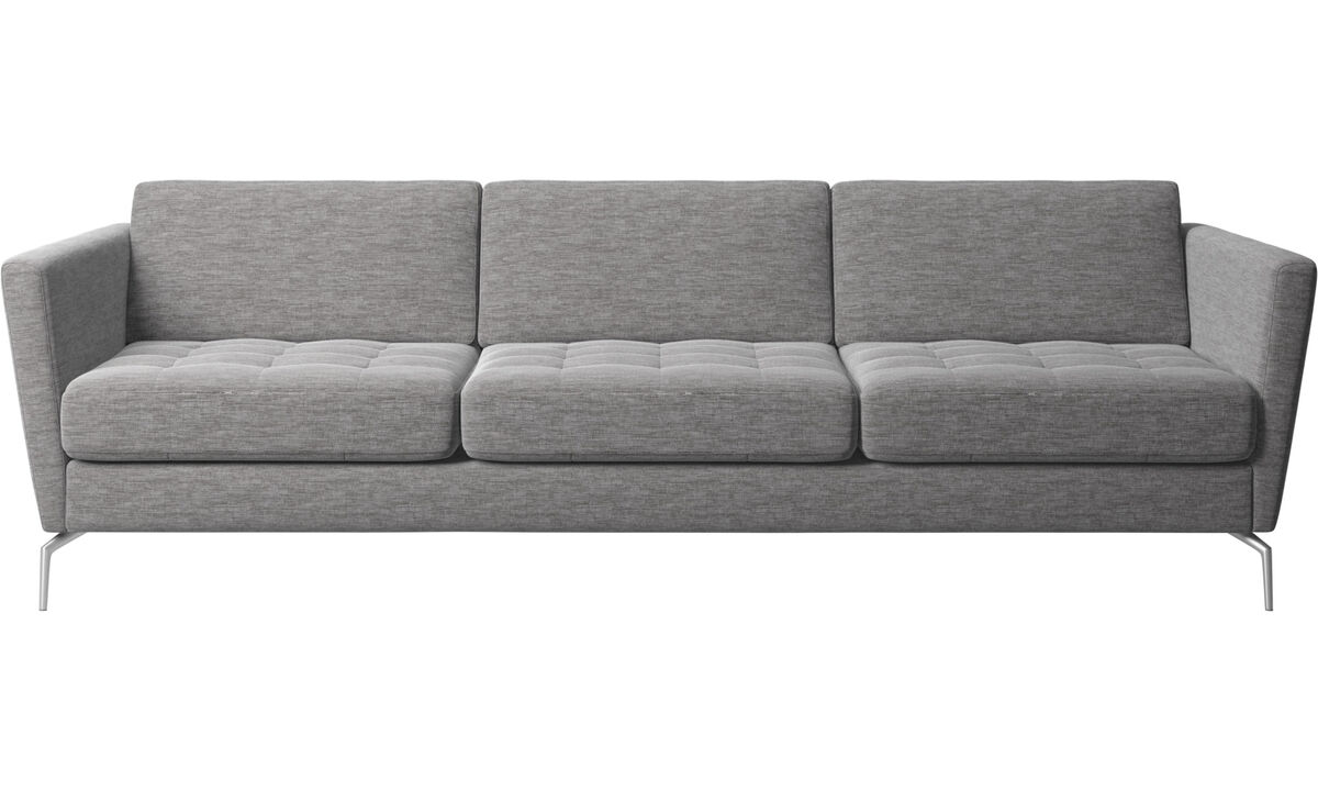 3-sitzer Sofas - Osaka Sofa, getuftete Sitzfläche - Grau - Stoff