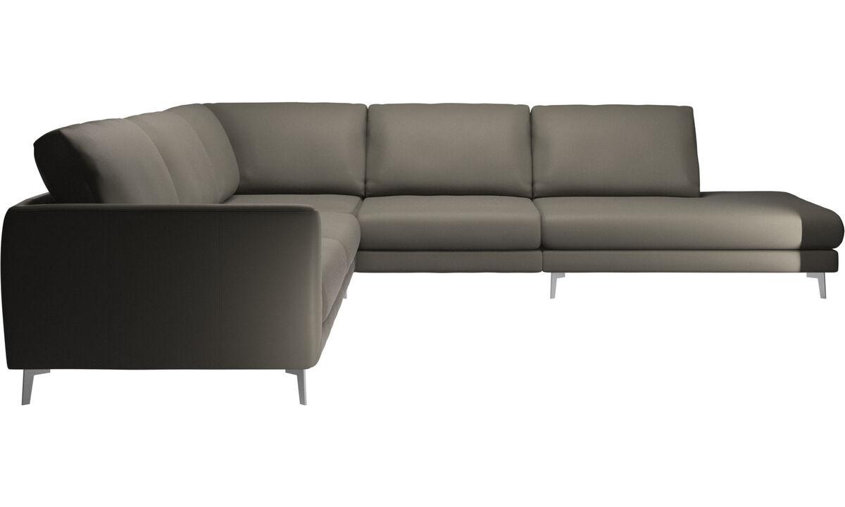 Sofás con lado abierto - sofá esquinero Fargo con módulo de descanso - En gris - Piel