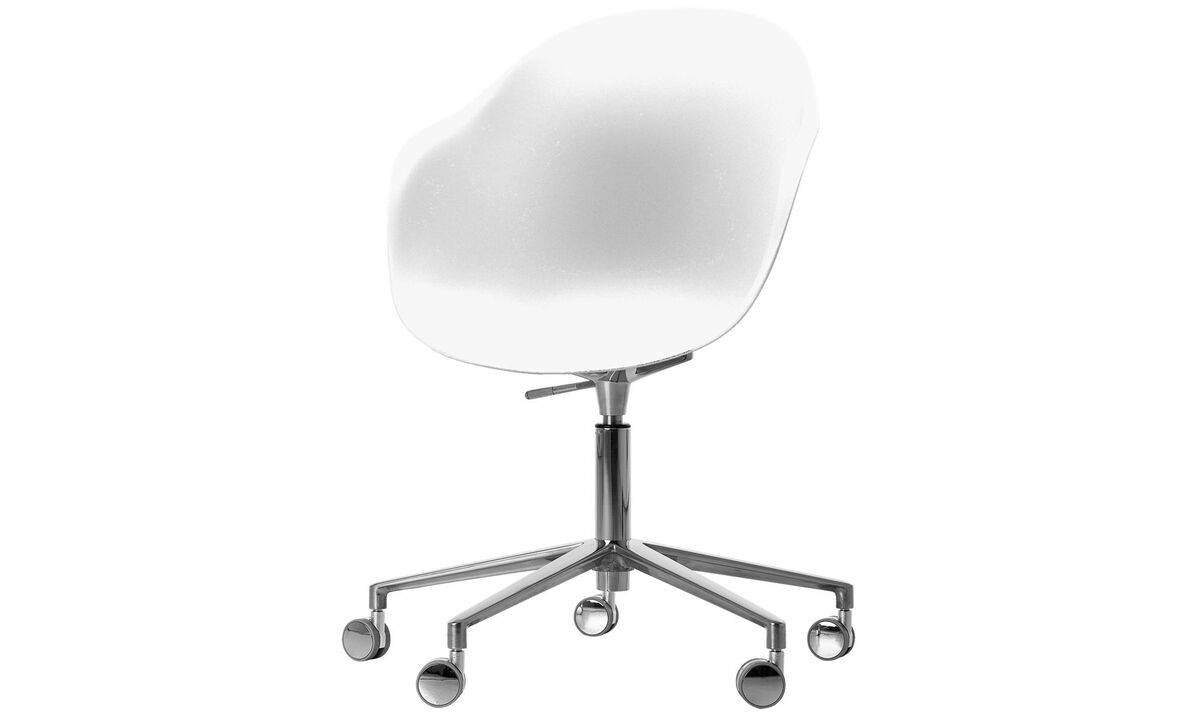 Home office chairs - Adelaide chair with swivel function and wheels - White - Metal
