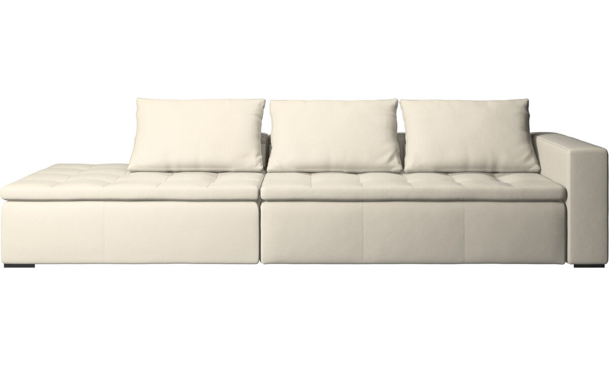Sofas with open end - Mezzo sofa with lounging unit - White - Leather
