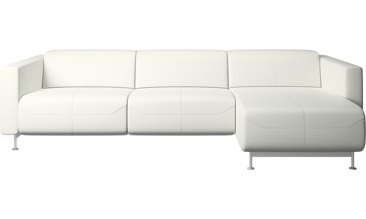 Chaise longue sofas - divano reclinabile Parma con modulo relax - Bianco - Pelle