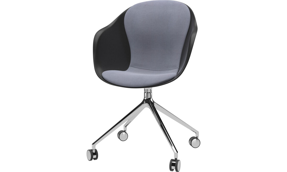 Home office chairs - Adelaide chair with swivel function and wheels - Blue - Fabric