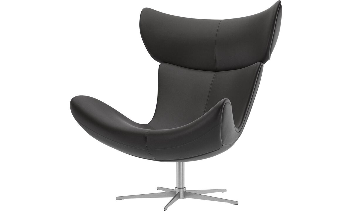 Armchairs - Imola chair with swivel function - Black - Leather