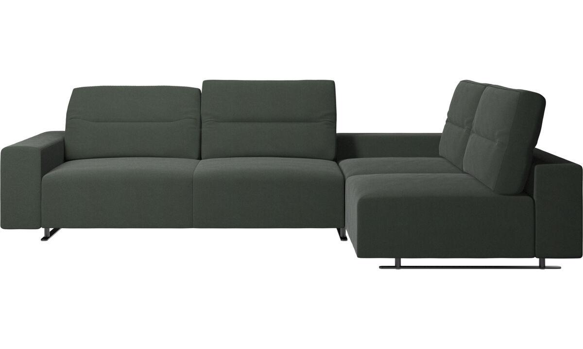 Corner sofas - Hampton corner sofa with adjustable back and storage on left side - Green - Fabric