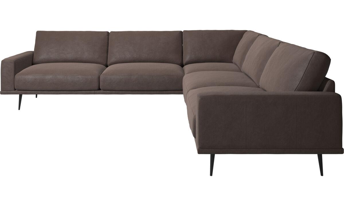 Sofás de canto - sofá de canto Carlton - Castanho - Pele