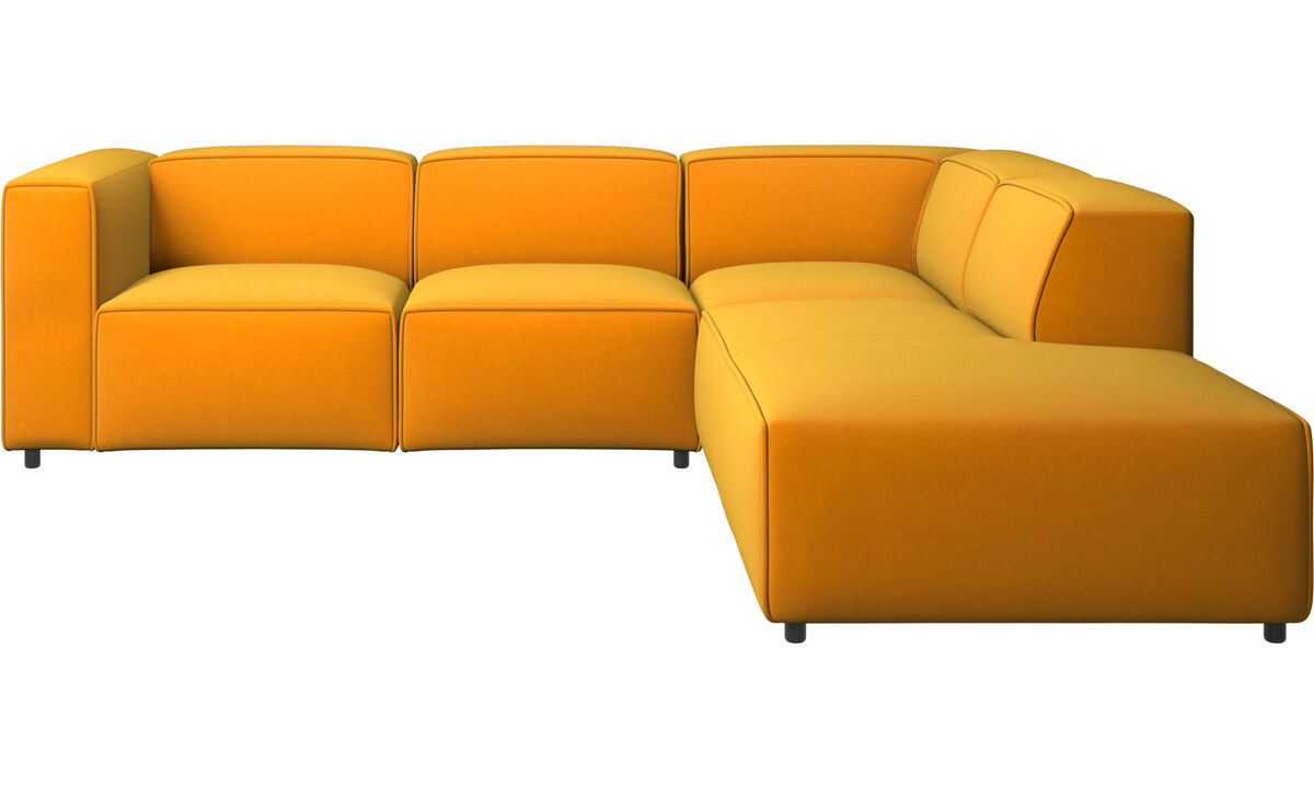 Sofás con chaise longue - Sofá esquinero Carmo con movimiento - Naranja - Tela